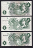 B322 £1 PAGE ERROR AN23 364862 MISSING PURPLE UNDERPRINT , also with normal notes 364860,384863 GDEF