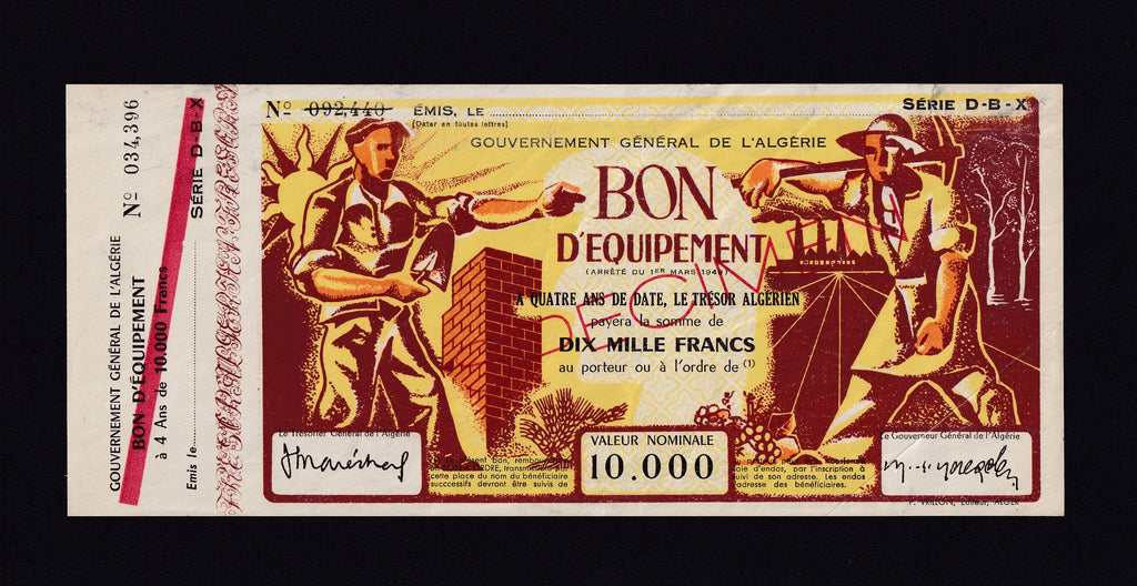 ALGERIA 1948 SPECIMEN LOTTERY TICKET 10,000 FRANCS