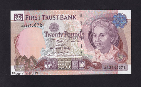 NORTHERN IRLAND FIRST TRUST BANK £20 McDADE SIG.PROOF AA2345678 PMI FT10s P.137s A/UNC