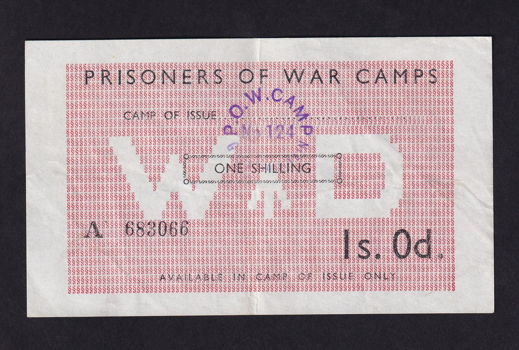 POW CAMPS IN UK FOR AXIS 1/- 1945 CAMP 124 WAPLEY, YATE, BRISTOL A683066 CAMPBELL 5017b EF