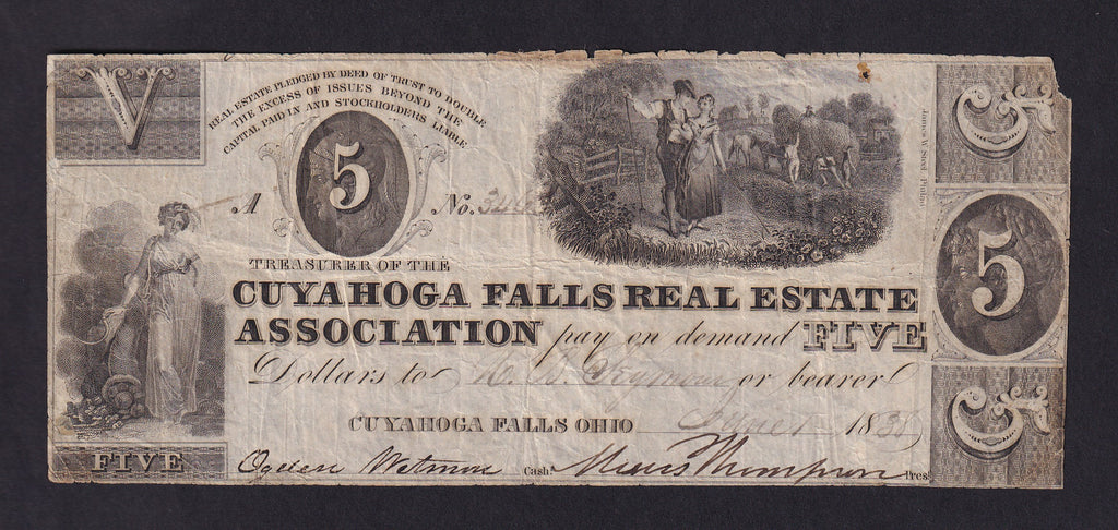 US OBSOLETE OHIO GUYAHOGA FALLS REAL ESTATE ASSOCIATION , $5 (1838) VG