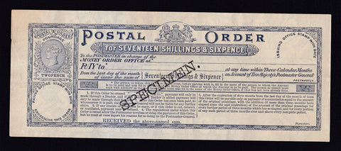 17/6d Postal Order specimen, first issue, discolour, VF