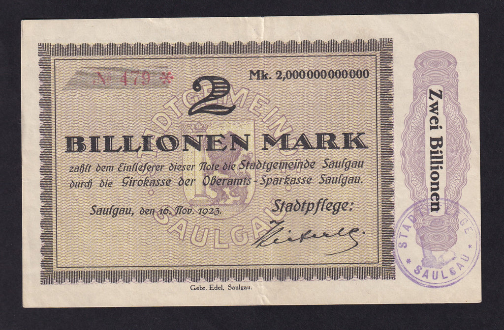 GERMANY INFLATION 2 BILLION MARK (1923) SAULGAU VF