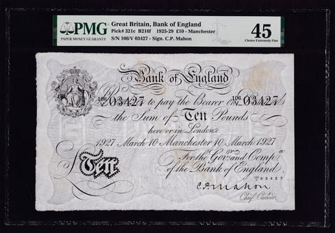 B216f Mahon £10, Manchester branch note, 10 March 1927, minor stains, EF
