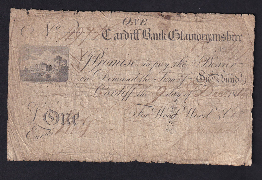 PROVINCIAL CARDIFF BANK GLAMORGANSHIRE ONE GUINEA (1816) for Wood etc, Out 418e VG