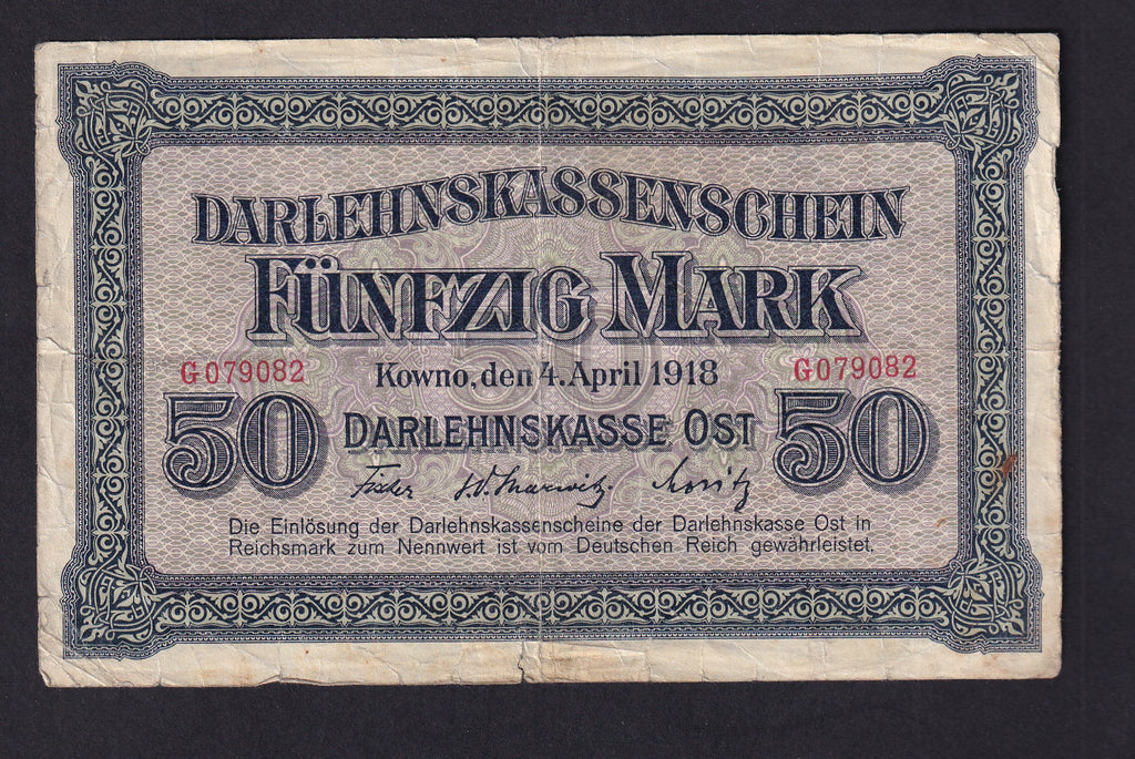PR132 GERMAN OCCUPATION ISSUE WWI 50 MARK (04.04.1918) F