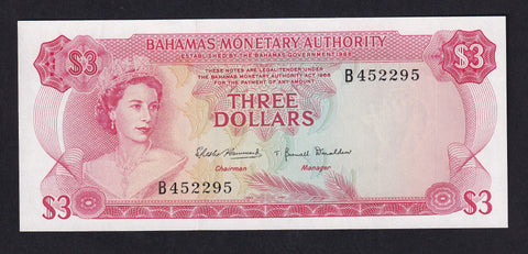 P28 BAHAMAS $3 MONETARY AUTHORITY B452295 UNC