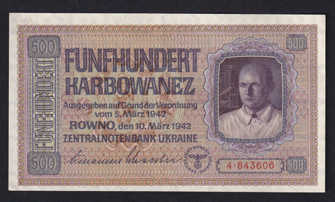 P57 UKRAINE WWII GERMAN OCCUPATION 500 Karbowanez (1942) GDEF