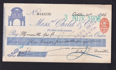 CHILDS BANK CHEQUE (1906) VF