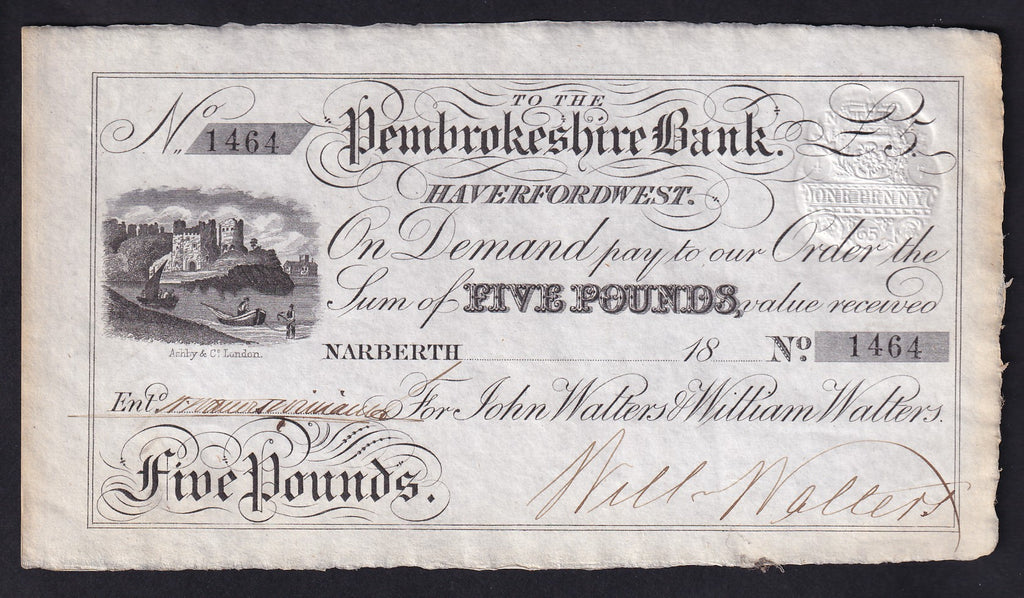 PROVINCIAL Haverfordwest £5 18XX Unissued for Narberth . A/UNC