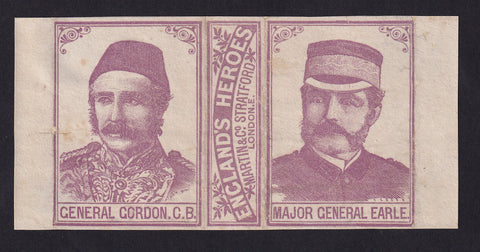 ENGLAND Englands Heros Match Box label General Gordon and Major General Earle . Martin & Co . fine