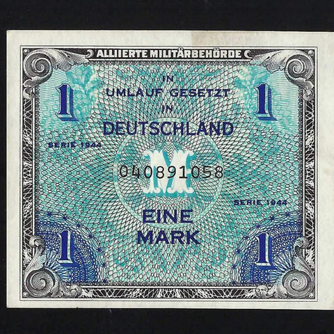P.192a Germany 1 Mark (1944) AMC, 9 digits with fforbes, VF