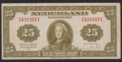P.67a Netherlands 25 Gulden (1943) CA213571, Queen Wilhelmina, A/VF