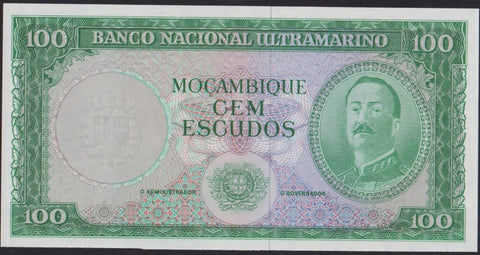P.109a Mozambique 100 Escudos proof, 1961, green, UNC