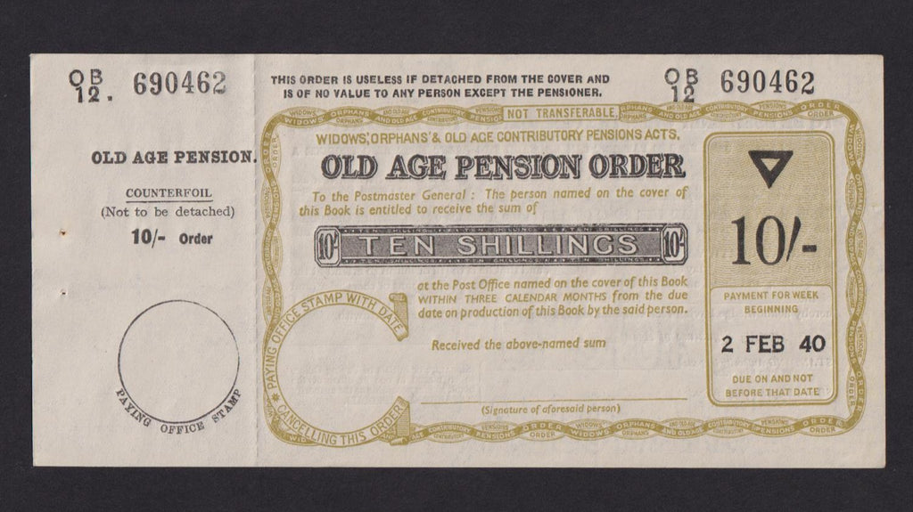 10 Shilling Old Age Pension Order, 2 February 1940, no.OB12 690462, EF