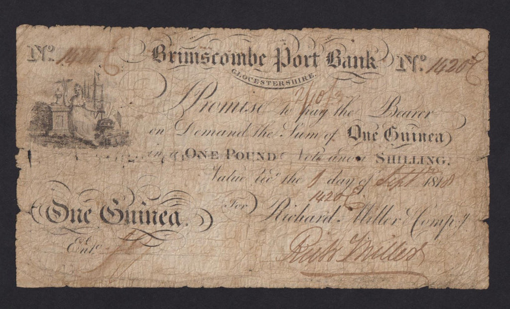 Provincial - Brimscombe Port Bank, One Guinea, 1818, Outing 298, some holes, otherwise VG