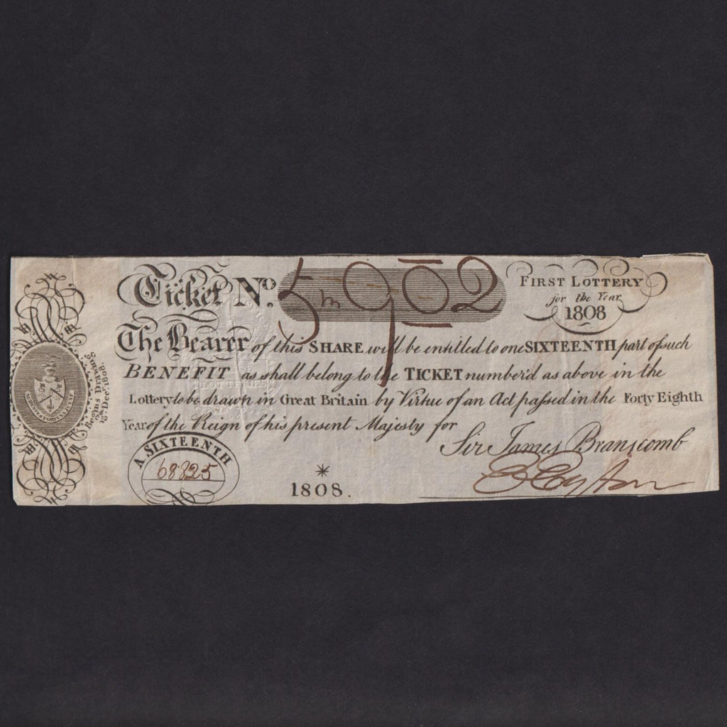 Lottery Ticket, One Sixteenth, the 48th Year of the Reign of his present Majesty for Sir James Branscomb, first lottery for the year 1808