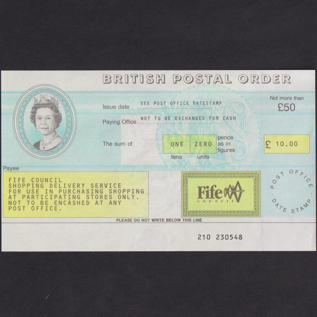 £10 Postal Order, Fife Council, unissued