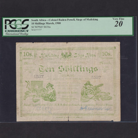 PS.654a South Africa 10 Shillings (March 1900) Mafeking Siege, Boer War, no.1537, 'commaning' error, tear, PMG20, VF