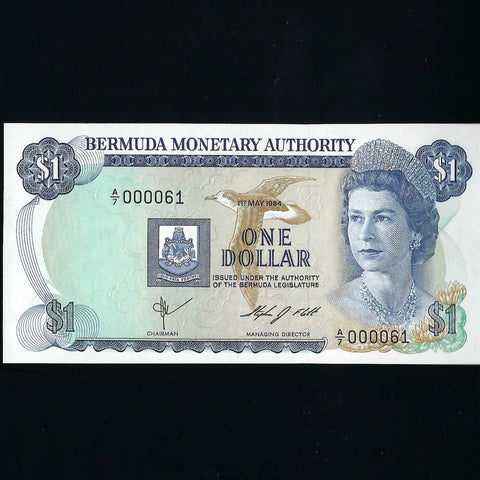 P.28f Bermuda $1 Monetary Authority, A/7 000061, signature 5, this is note 61 of signature as series starts at A/7, UNC