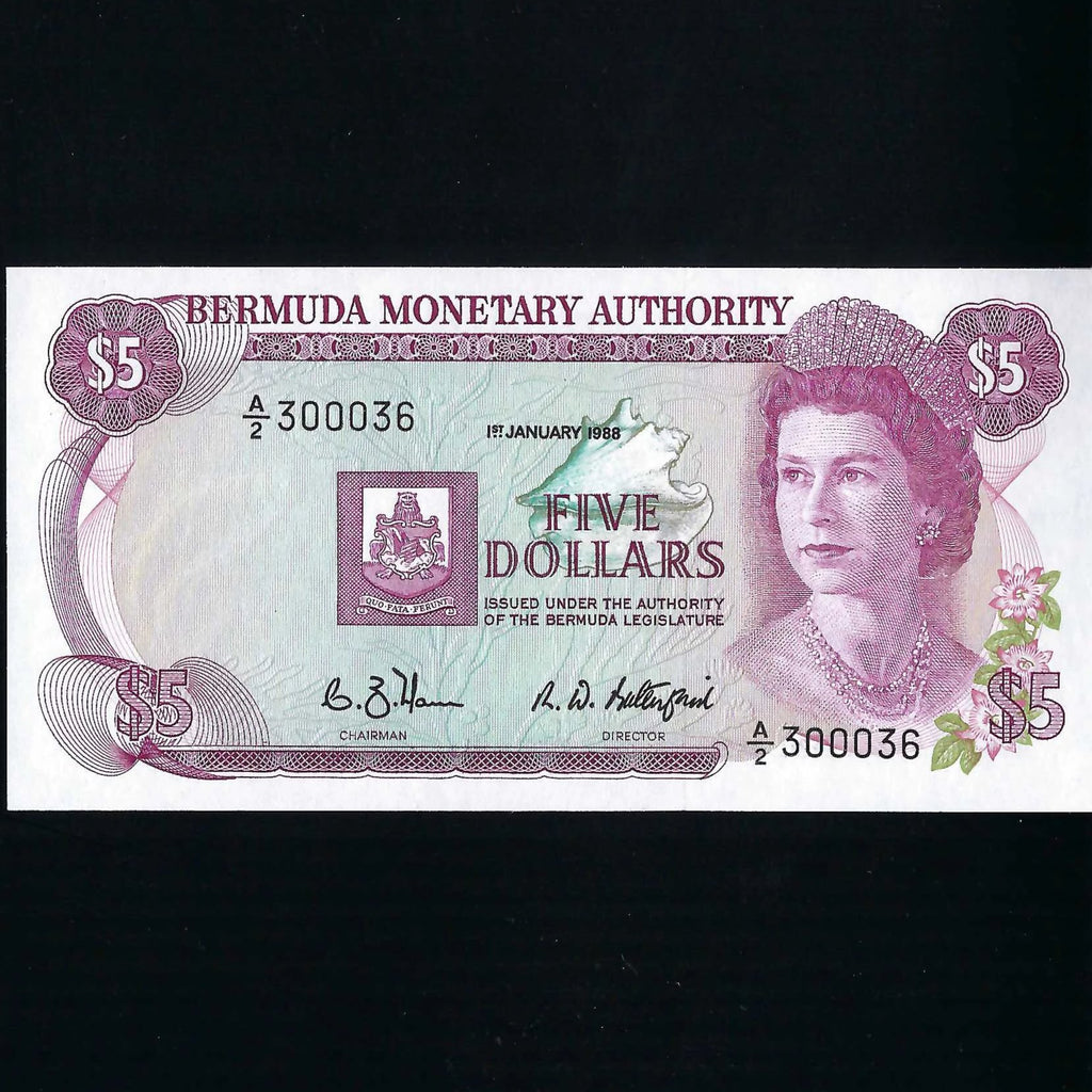 P.29d Bermuda $5 (01.01.1988) Monetary Authority, A/2 3000036, signature 7 but note number 36 as series starts on 300000, UNC