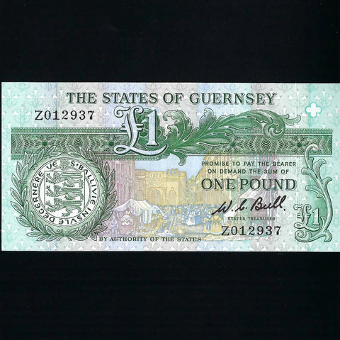 P.48a Guernsey £1 replacement, Bull black signature, Z01, UNC