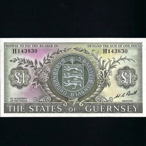 P.45c Guernsey £1, Bull signature, Good EF