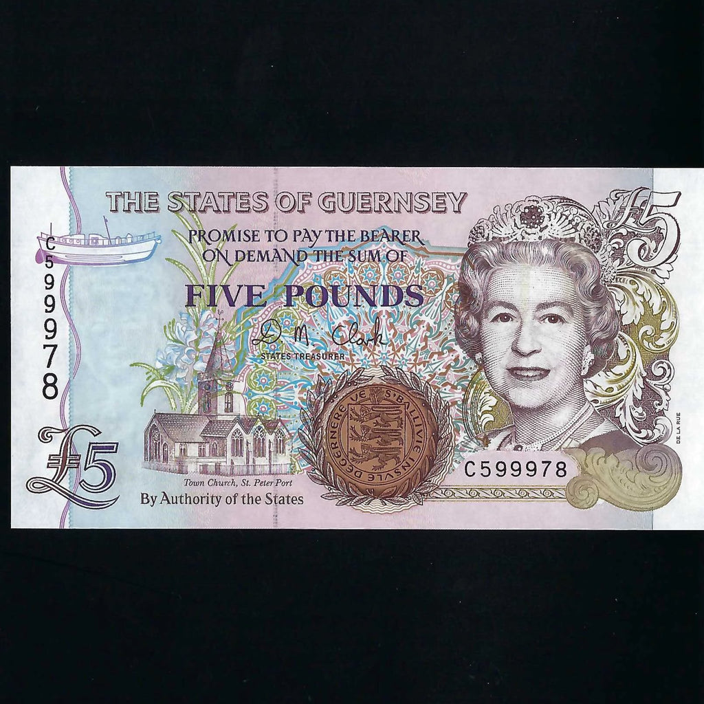 P.56b Guernsey £5, last 25 notes of series of old thread, C599976, UNC