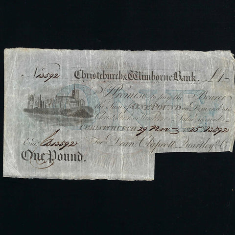 Provincial - Christchurch & Wimbourne £1 (1825) Outing 556c, VF