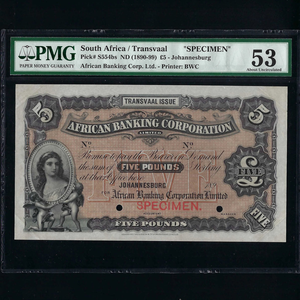 PS.554bs South Africa £5 specimen (189x) African Banking Corporation, Johannesburg branch, Transvaal issue, A/UNC