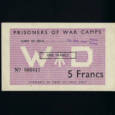 Allied POW camps in France, 5 Francs (WWII) no.000417, Campbell 5034, A/EF