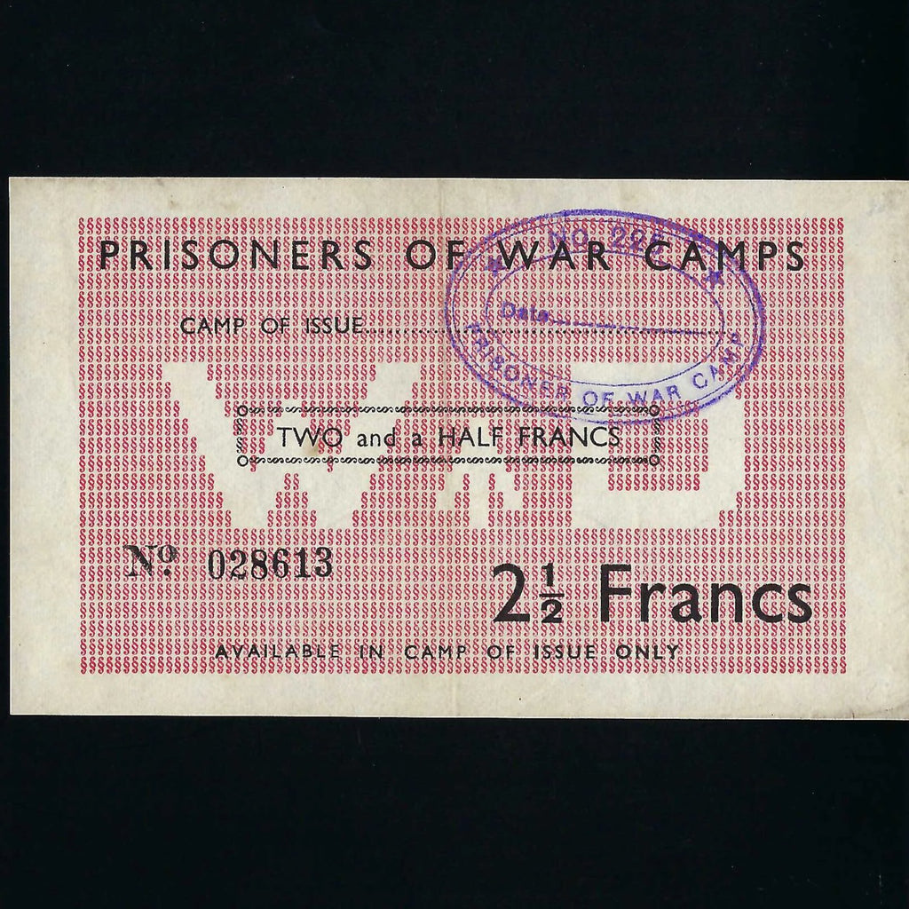 Allied POW camps in France, 2 1/2 Francs (WWII) no.028613, Campbell 5033, VF
