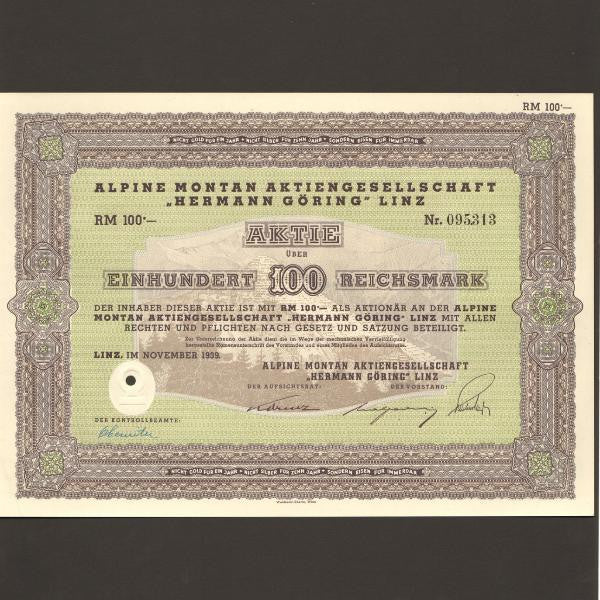 Germany 100 Reichmark (1939) Alpine Montan Herman Goring - Colin Narbeth & Son Ltd.