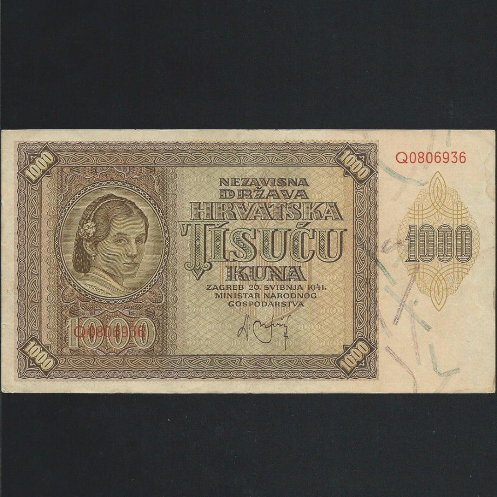 P. 2a Croatia 1000 Kuna (1941) Fine - Colin Narbeth & Son Ltd. - 1
