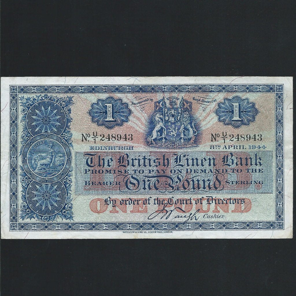 P.157b Scotland £1 (08.04.1944) British Linen Bank, Good Fine