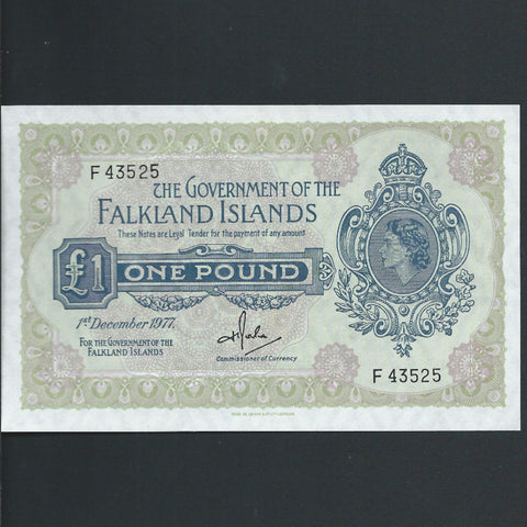 P. 8c Falkland Islands £1 (1977) Rowlands signature, UNC
