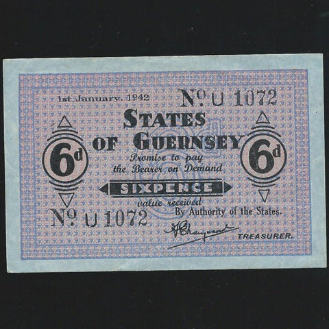 P.24 Guernsey 6d (01.01.1942) WWII, German Occupation, blue paper, EF
