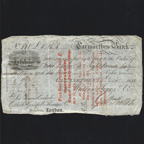 Provincial - Carmarthen Bank £8 16/- 6d (1831) 21 days after date for Walters & Jones & Co. Esdaile as London agent, Outing unlisted, Good VF