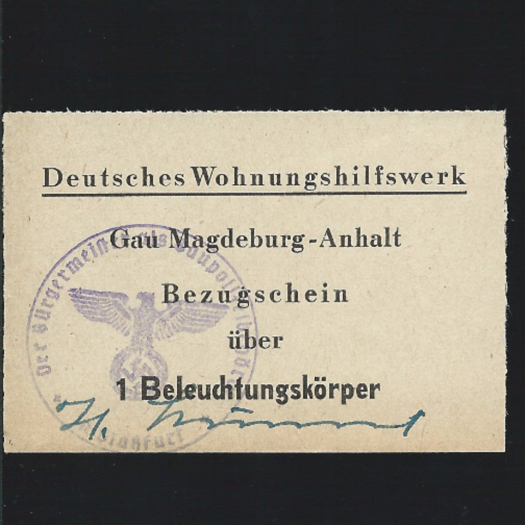 Nazi Germany ration supply ticket for extra provisions with hand signature