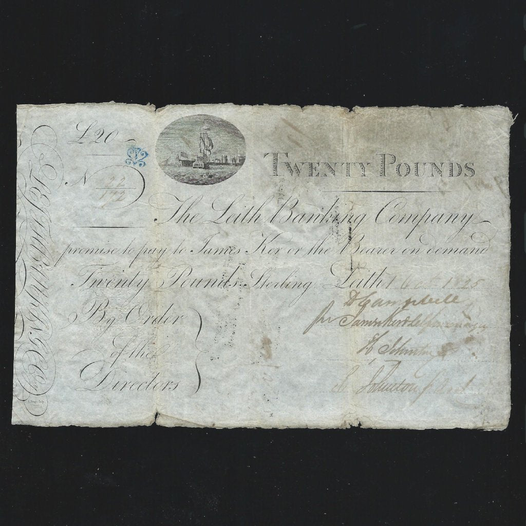 Scotland £20 ( 01.10.1825) Leith Banking Company, D.4 LB8b, pay James Ker, with blue ornament check mark, Fine