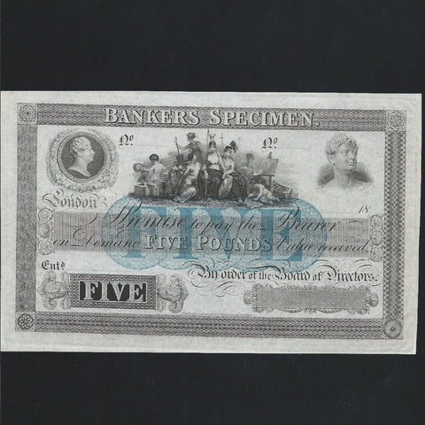 Banker's Specimen - Perkins, Bacon & Petch, blue underprint, UNC