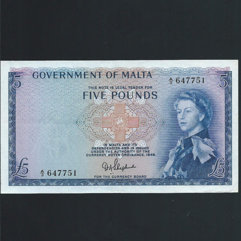 Malta £5, QEII, Shepherd signature, A/3 647751, Good VF