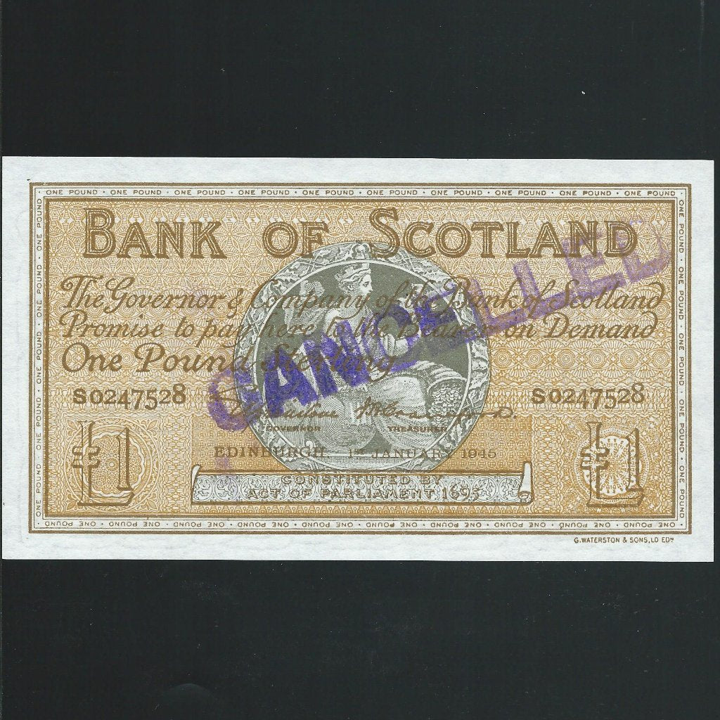 Scotland £1 Elphinstone/ Crawford essay, Bank of Scotland, S0247528, BA97c, green reverse, UNC