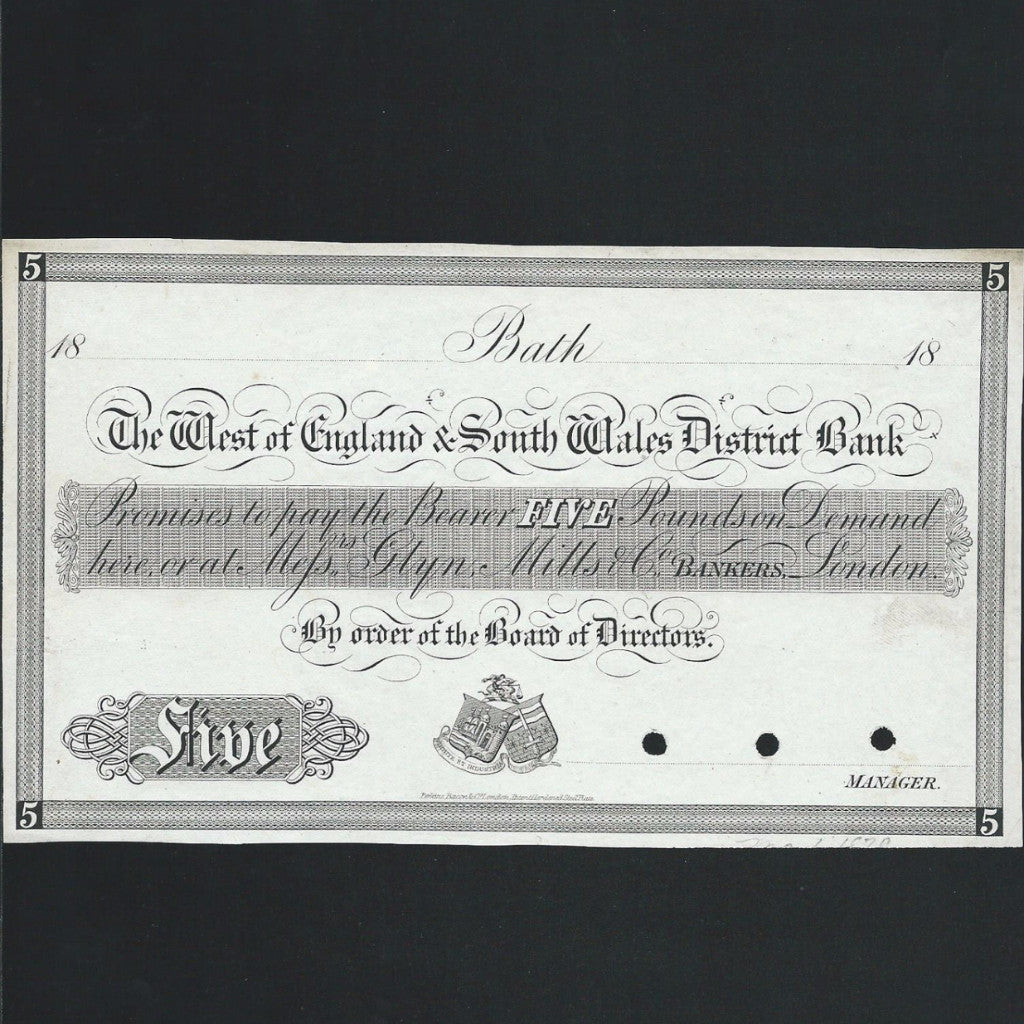Provincial - West of England & South West Wales District Bank £5 obverse proof (18xx) Perkins, Bacon & Co. Outing unlisted for Bath branch, small tear otherwise EF - Colin Narbeth & Son Ltd.