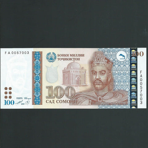 P.19 Tajikistan 100 Somoni (1999) UNC - Colin Narbeth & Son Ltd.