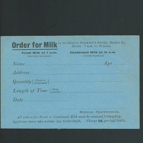 Siege of Kimberley, Boer War .order for milk to be taken to Schmidt's Store - Colin Narbeth & Son Ltd.