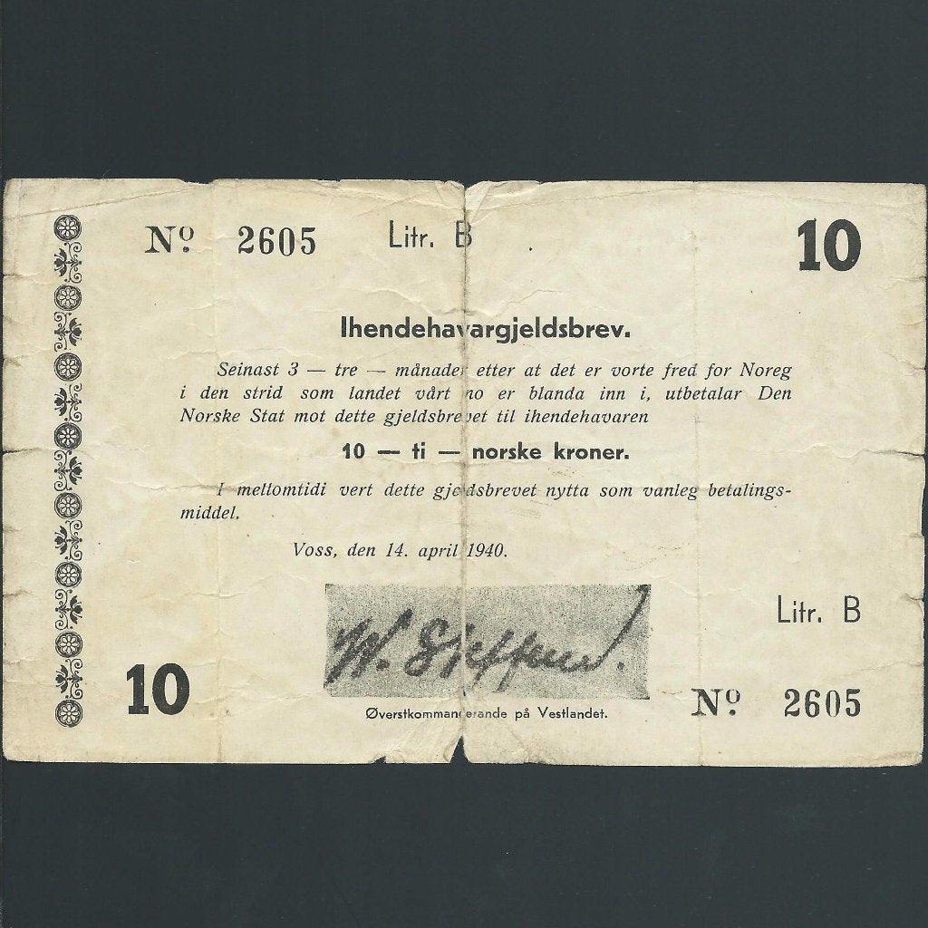 P.M2 Norway 10 Kroner (14.04.1940) WWII emergency issue, tears, Poor