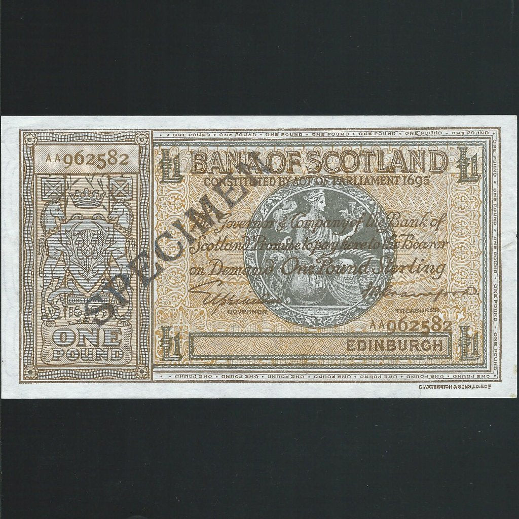 P. 91s Scotland £1 specimen, Bank of Scotland, Elphinstone/Crawford, AA962582, brown reverse, D.86, EF