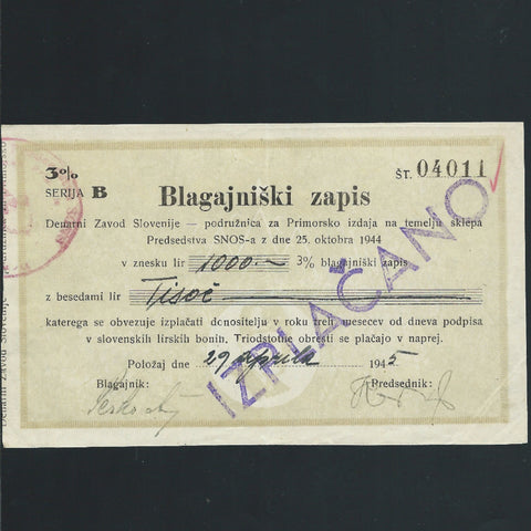 Yugoslavia 1000 Lir (25.10.1944) P.NL Slovenia Branch office, coastal region for disbursements. 3%, for Partizans, EF