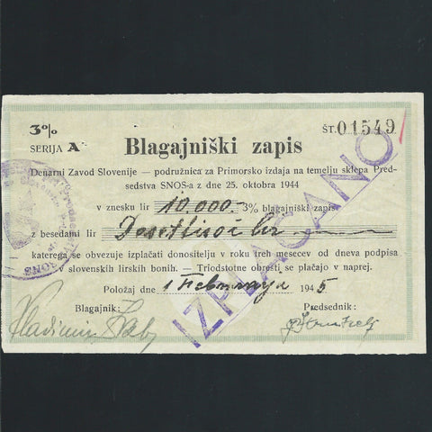 Yugoslavia 10000 Lir (25.10.1944) P.NL Slovenia Branch office, coastal region for disbursements. 3%, for Partizans, EF